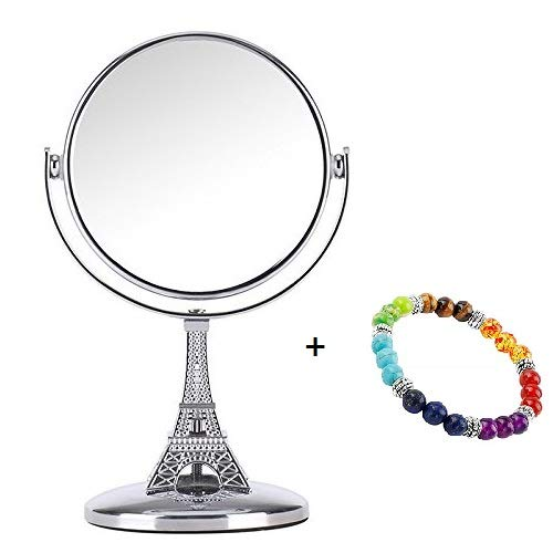 Modeling of the Eiffel Tower,Mini Makeup Mirror 3.7-inch Tabletop Two-sided Swivel Vanity Mirror with 5x Magnification,360 °Rotation Stand Cosmetic Mirror,5.9-inch Height,with a Women Charm Bracelet