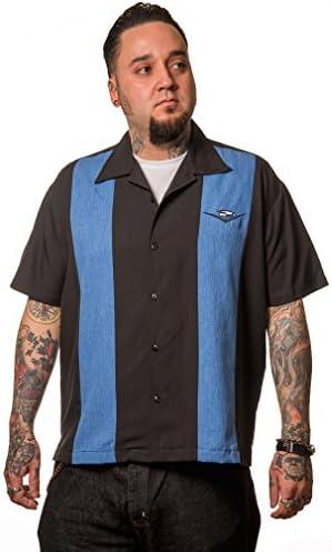 Steady Clothing Herren Vintage Bowling Hemd - Classic Cruising Blau Retro Bowling Shirt