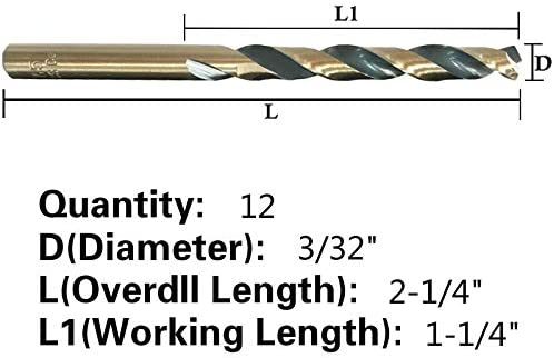Jobber Length Ideal for DIY Black and Gold Finish Otul 12pcs 3//32 inch x 2-1//4 inch M2 Drill Bits Round Shank High Speed Steel Twist Drill Bits home general building and engineering using