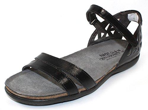 Naot Footwear Women's Bonnie Black Luster Leather Sandal 41 (US Women's 10) (Bonnie Black Leather)