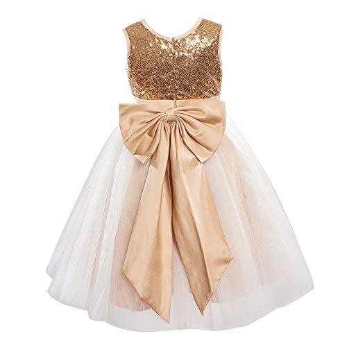 Dresslane Champagne Sequin Ivory Tulle Flower Girl Dress Kids Dress/Bow - Affordable Flower Girl Dresses
