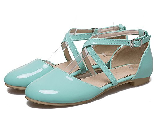 Toe Heels Sandals Women's Buckle Green WeiPoot Solid Closed Patent Low Leather z0zqX