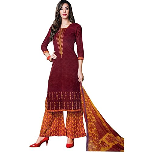 Ready To Wear Cotton Embroidered Printed Salwar Kameez Suit Indian – 0X Plus, Maroon