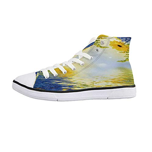 Yellow and Blue Stylish High Top Canvas Shoes,Romantic Bouquet of Hydrangeas and Asters on Water Background for Men & Boys,US 12
