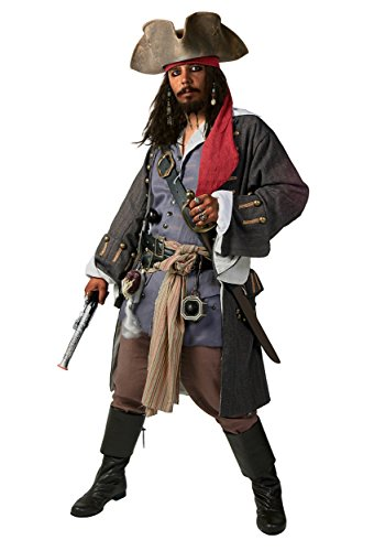 Caribbean Adult Costume (Supreme Pirates of The Caribbean Captain Jack Fun Costume - M)