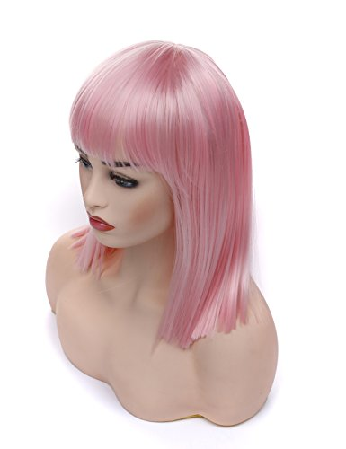 Pink Wig Halloween Costumes Idea (Morvally Short Straight Bob Wig with Flat Bangs Natural Looking Heat Resistant Hair Cosplay Costume Wigs (14 inches)