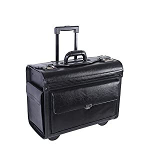 """NEXTECH 15.6"""" Genuine Colombian Leather Wheeled Flapover Briefcase, Black, International Carry-On (Model:NT0803 009)"""