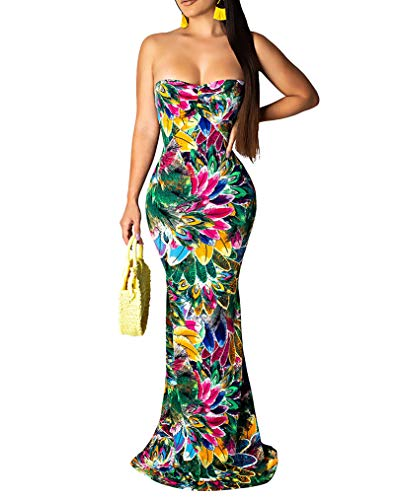 Women Strapless Floral Printed Dress Sexy Sleeveless Backless Bandage Hollow Out Tube Vintage Beach Long Dresses, Green, M ()