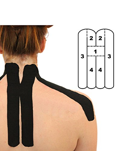 5 Pack - Kindmax Kinesiology Tape Precut Neck Support (Black) - K Tape for Neck Pain by Kindmax