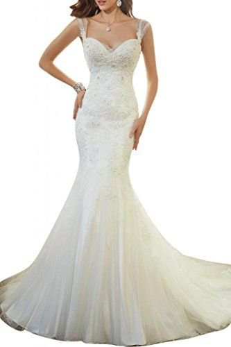 AbaoWedding 2015 Women's Sleeveless Mermaid Wedding Dress Long Ivory (size4) (Wedding Dress Made In China White)