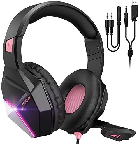 Mpow Pink Gaming Headset for PS4,PS5, PC, Xbox One,Switch -Surround Sound Headset with Microphone,Noise Cancelling,LED,Soft Earmuffs,Gaming Headphone for Girls Kids Headphones for Girls (EG10)