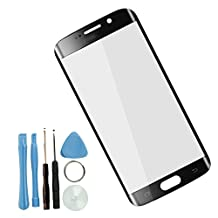 Sunways Front Outer Screen Glass Lens Replacement for Samsung Galaxy S6 edge G925 with Free Tools (Black)