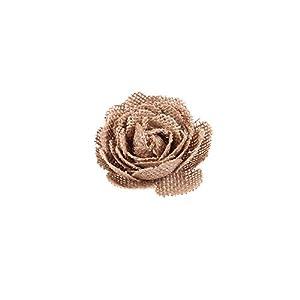 Junxia Burlap Rose Natural Linen Flowers for Wedding Party Decoration 76