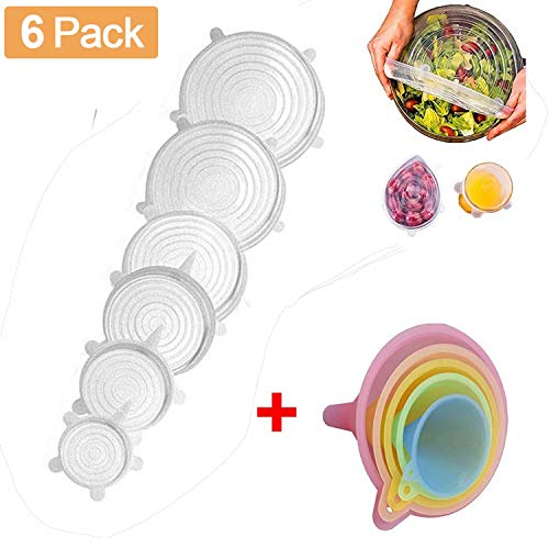 - Silicone Stretch Lids, 6PC Various Sizes Food Seal Lids Covers, Reusable Silicone Bowl Lids for Bowls, Pots, Cups, Flexible to Fit All Shape of Containers, Durable, Microwave and Dishwasher Safe