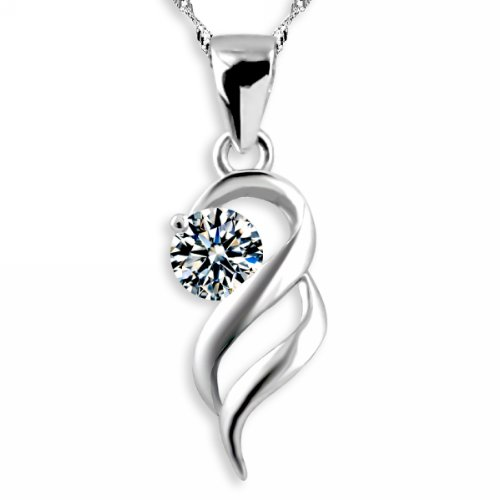 Silver Necklace with Beautiful Cubic Zirconia Angel Wing Pendant 18 (Angel Cubic Zirconia Pendants)