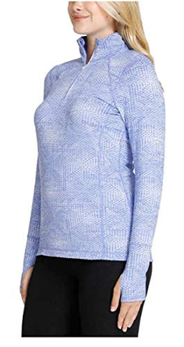 Kirkland Signature Ladies' Quarter Zip, Azure Blue Jacquard, Size X-Large