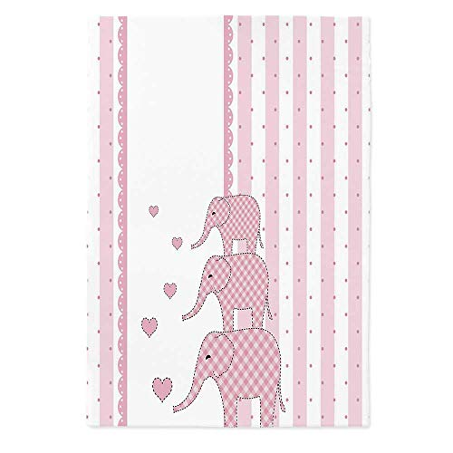 (TecBillion Elephant Nursery Decor Printed Tablecloth,Vertical Striped Backdrop Cute Pink Animals with Hearts Retro for Rectangle Table Kitchen Dinning Party,60''W X 84''L)