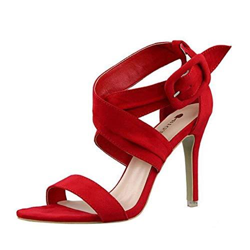 A Cinturino Fibbia Scamosciata Eeayyygch colore Rosso 2 Pelle Alla Dimensione Caviglia Rosso In Spillo Donna Da Sandalo Uk E Con qxWnWPRgw