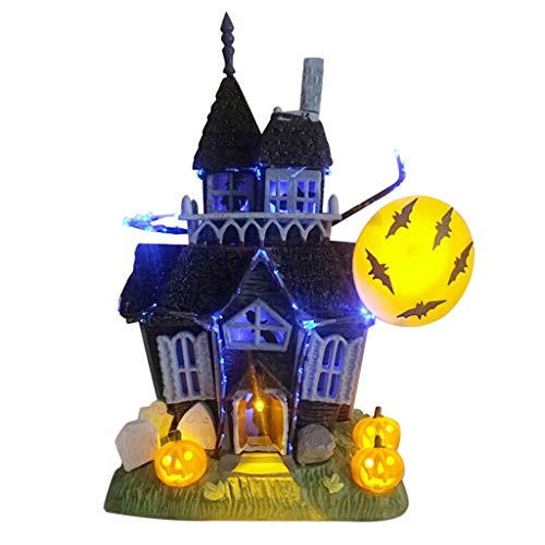 Wearefo Miniature Haunted House Halloween Decoration Spooky Haunted House Flashing Lights Sound Motion Sensor Halloween Village Tabletop Decoration Decorated with Bat Pumpkin