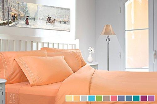 Clara Clark Premier 1800 Series 4pc Bed Sheet Set - Queen, Camel Gold