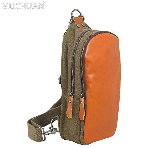 WTUS Hombre Moda hombre pequeño pecho Bandolera paquete mochila Bolsa Brown