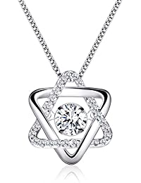 Halo Crystal Cubic Zirconia Pendant Necklace, Cat Eye Jewels S925 Sterling Silver Round Cut Clear CZ Diamond 16inch...