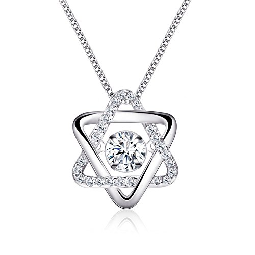 CAT EYE JEWELS Star of David Pendant Necklace S925 Stamp Sterling Silver Platinum Plated Chain