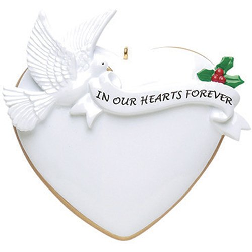 (Personalized Our Heart Forever Christmas Tree Ornament 2019 - White Big Heart Gold Edges Peaceful Dove Hold Ribbon Angel Religious Pray God Heaven Wings Memorial Faith Year - Free Customization)