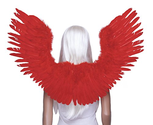 FashionWings TM Red Open Swing V Shape Costume Feather Angel Wings Adult Unisex for $<!--$38.99-->