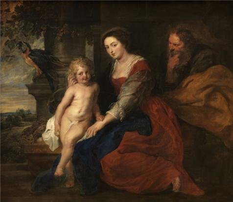 The Polyster Canvas Of Oil Painting 'Peter Paul Rubens,Holy Family With Parrot,1577-1640' ,size: 30x35 Inch / 76x88 Cm ,this Beautiful Art Decorative Canvas Prints Is Fit For Laundry Room Gallery Art And Home Decor And Gifts