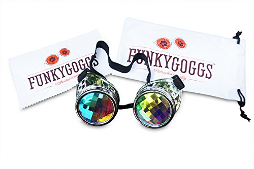 Kaleidoscope Goggles- Steampunk Rave Diffraction Glasses with Rainbow Crystal Prism Glass Lens by Funky - Crystal Kaleidoscope