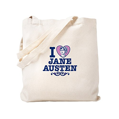 CafePress - I Love Jane Austen - Natural Canvas Tote Bag, Cloth Shopping (Jane Austen Tote Bag)