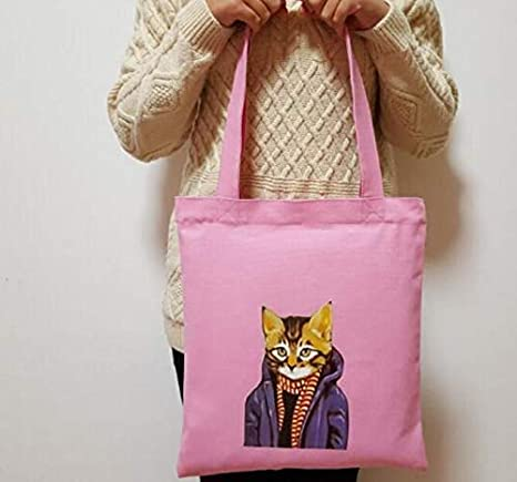 Lección Bolsas Lona femenina Angry Cat Impreso Bolsa de ...
