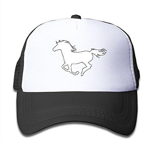 SFT Kid's White Horse Trucker Baseball Cap Adjustable Mesh Hat Girl Boy