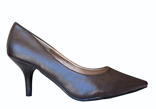 Motion-1A Womens Slip On Point Toe High Heel Pumps stiletto Shoes Brown JNk6air