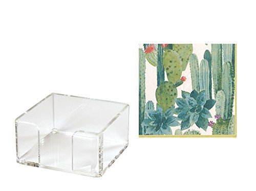 - Cocktail Napkin Holder with Paper Napkins Included 40 Cactus Print Napkins Refillable