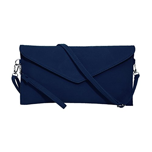 Navy Faux Suede Clutch Bag - 1