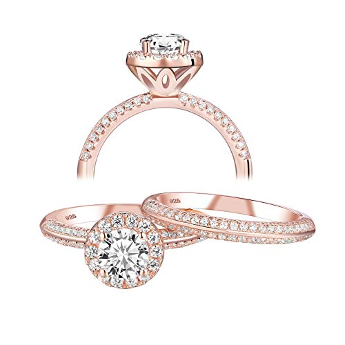 Newshe Rose Gold Engagement Wedding Ring Sets for Women 925 Sterling Silver Round White Cz Size 8