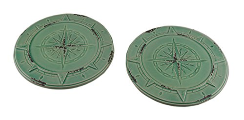 Zeckos Set of 2 Vintage Aqua Finish Compass Rose Ceramic Candle Plates ()