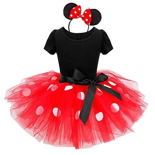 Minnie Costume Baby Girl Dress Mouse Ear Headband Polka, Red, Size 110(3 Years)