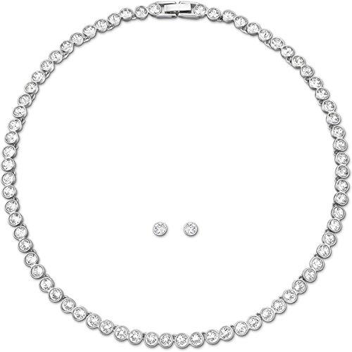 Swarovski Damen-Schmuckset Halskette + Ohrringe Tennis Set rhodiniert Glas weiß - 5007747