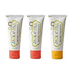 Jack N' Jill Natural Toothpaste Organic 50g, Set of 3, Strawberry/Banana