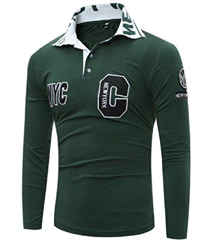 【Smile LaLa】 メンズ ポロシャツ 長袖 カジュアル シャツ ワンポイント C字 ロゴ 刺繍 ゴルフ スポーツ ウェア