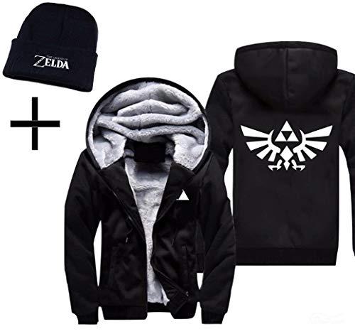 SoloBar Legend of Zelda Mens Thicken Hoodie Jacket Fleece Interior Cosplay Costume Top Plus Free Beanie | L | Black -