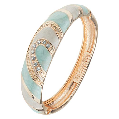 UJOY Indian Enamel Jewelry Gold Plated Filigree Bracelet Handmade Oval Multi-Color Spring Wide Cuff Bangle 88A26 White Green
