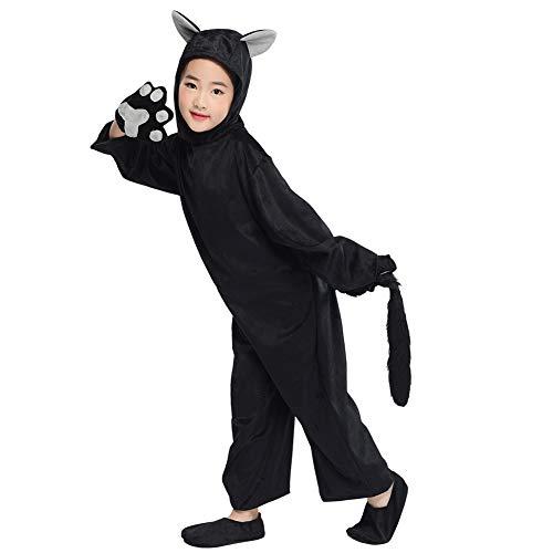 Kids Animals Costume Black Cat Cosplay Halloween Childen Party Fancy Dress S
