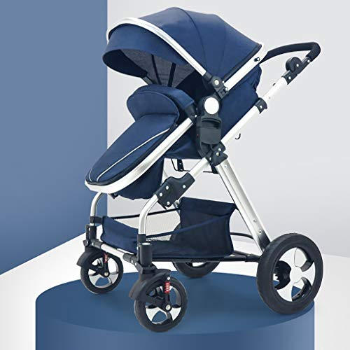 TXTC Compact Convertible Luxury Strollers, Pushchair Stroller,Portable Pram Carriage Multifunctional Pushchair ,5-Point Harness and High Capacity Basket (Color : Blue)
