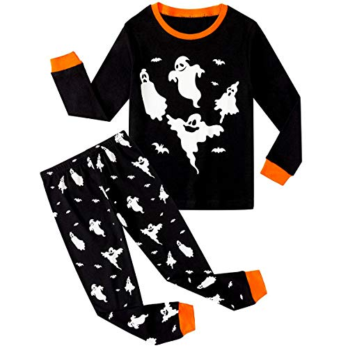 ECwin Little Boy Pajamas Halloween Glow-in-The-Dark Sleepwear Cotton PJS Set