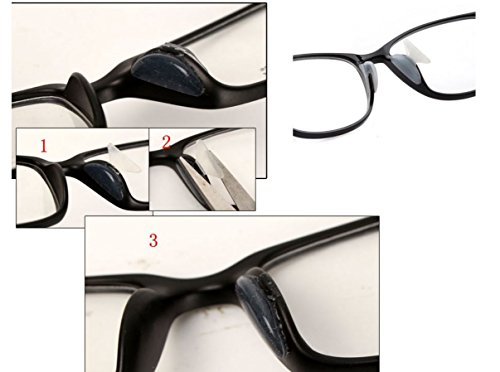 AM Landen 2.5mm 2 Pairs Transparent Non-slip Silicone Nose Pads for Eyeglasses