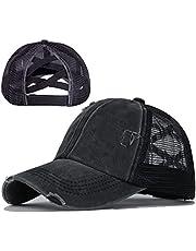 SEALEN Ponytail Criss Cross Baseball Cap Messy Buns Ponycaps Trucker Mesh Hat for Women